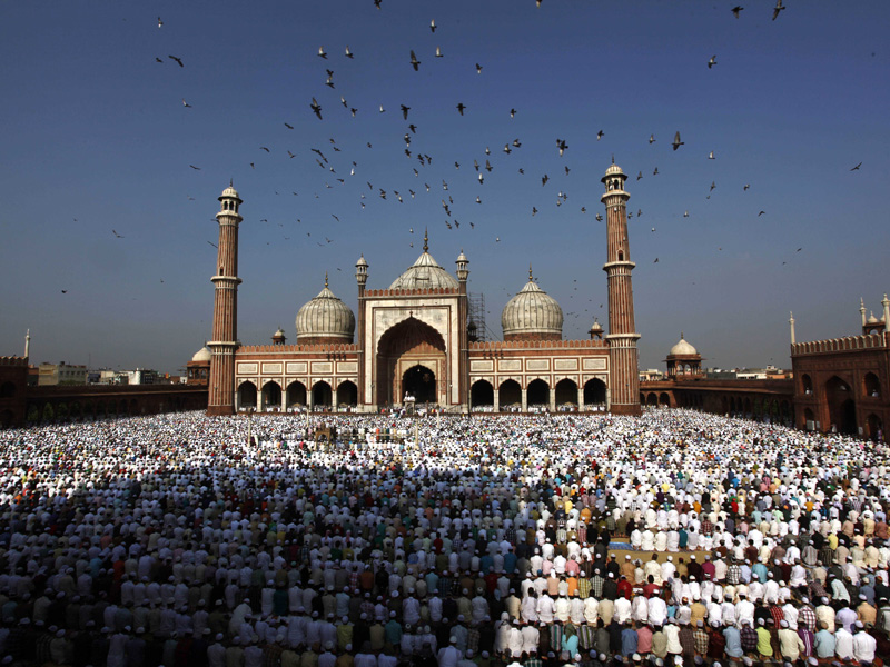 Muslims offer prayers at the Jama Masjid mosque during Eid al-Fitr in New Delhi, India, Wednesday, Aug. 31, 2011. Eid al-Fitr is a holiday marking the end of the holy month of Ramadan, which is observed by millions of Muslims around the world. (AP Photo/Rajesh Kumar Singh)